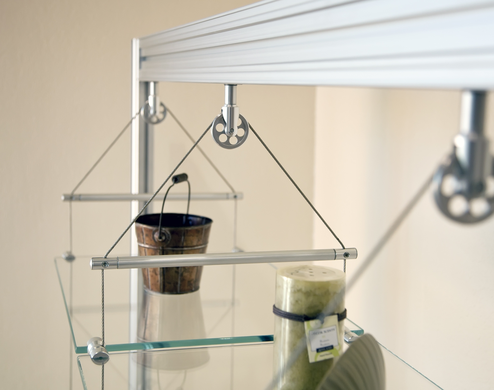15 Photos Wire Suspended Glass Shelves Shelf Ideas
