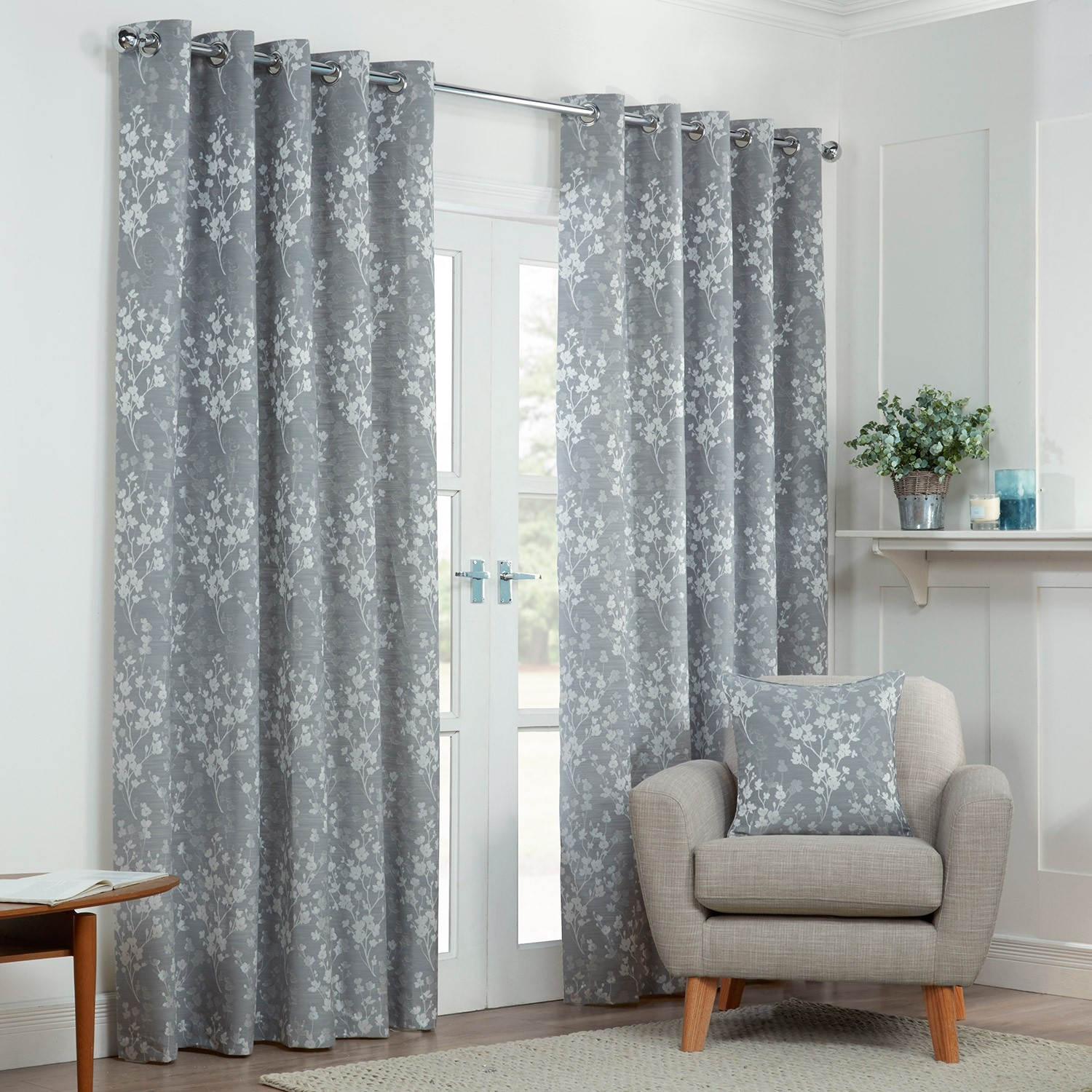 Blossom Silver Grey Floral Lined Eyelet Curtains Pair Julian For Grey Eyelet Curtains (Image 3 of 25)