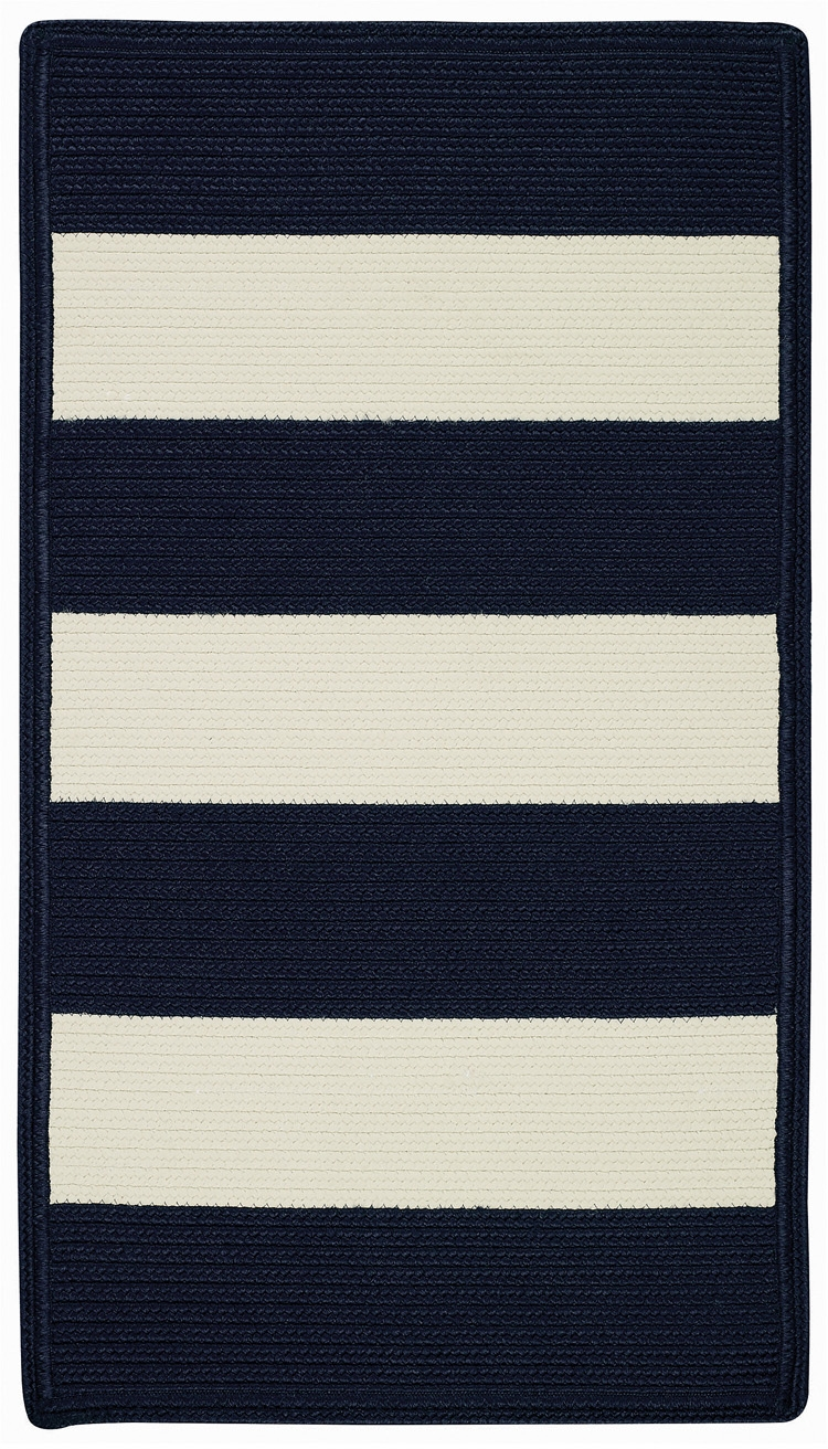 Blue And White Striped Rug With Striped Mats (Image 4 of 15)