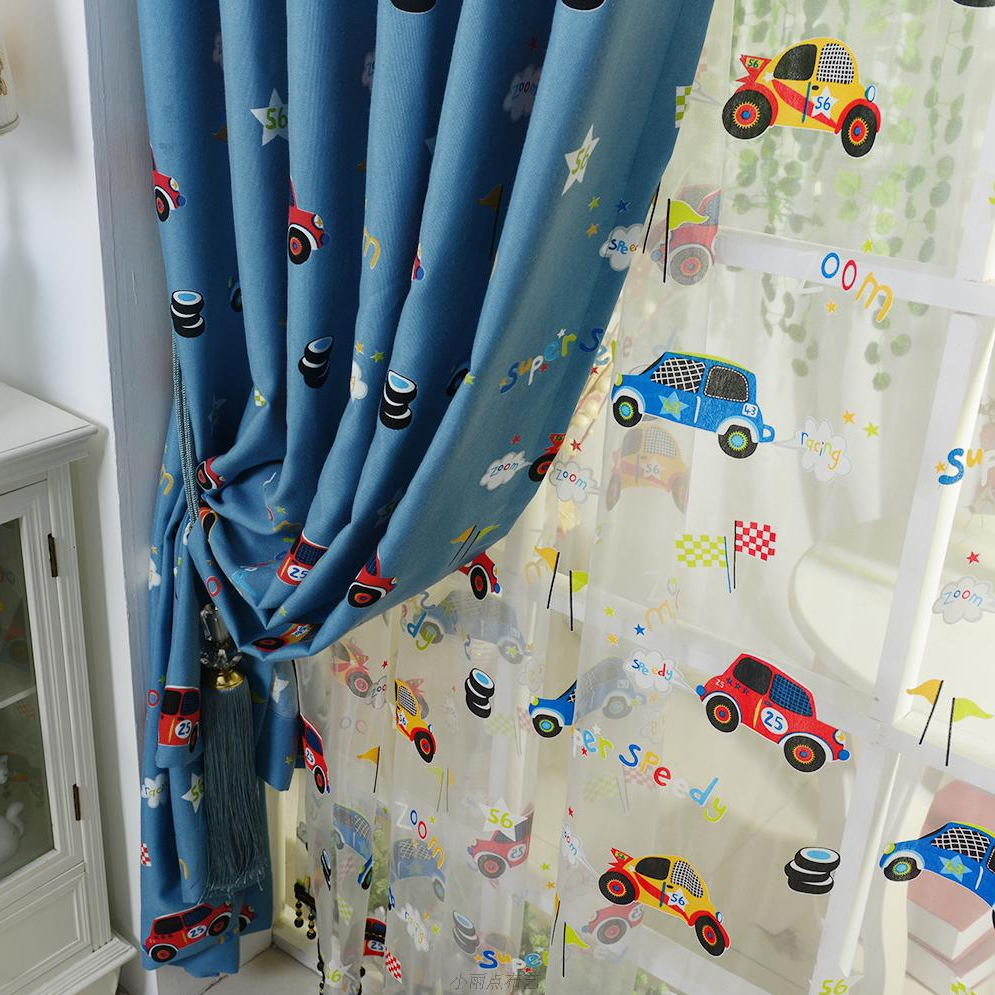 Blue Cartoon Car Boys Room Nursery Curtains With Blue Curtains For Boys Room (Image 6 of 25)