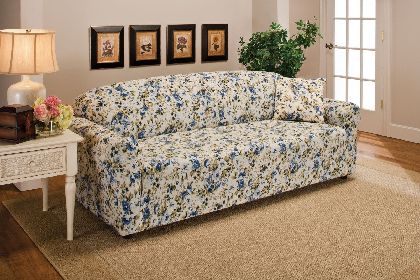 Blue Floral Flower Jersey Sofa Stretch Slipcover Couch Cover Chair Inside Chintz Sofa Covers (Image 2 of 15)