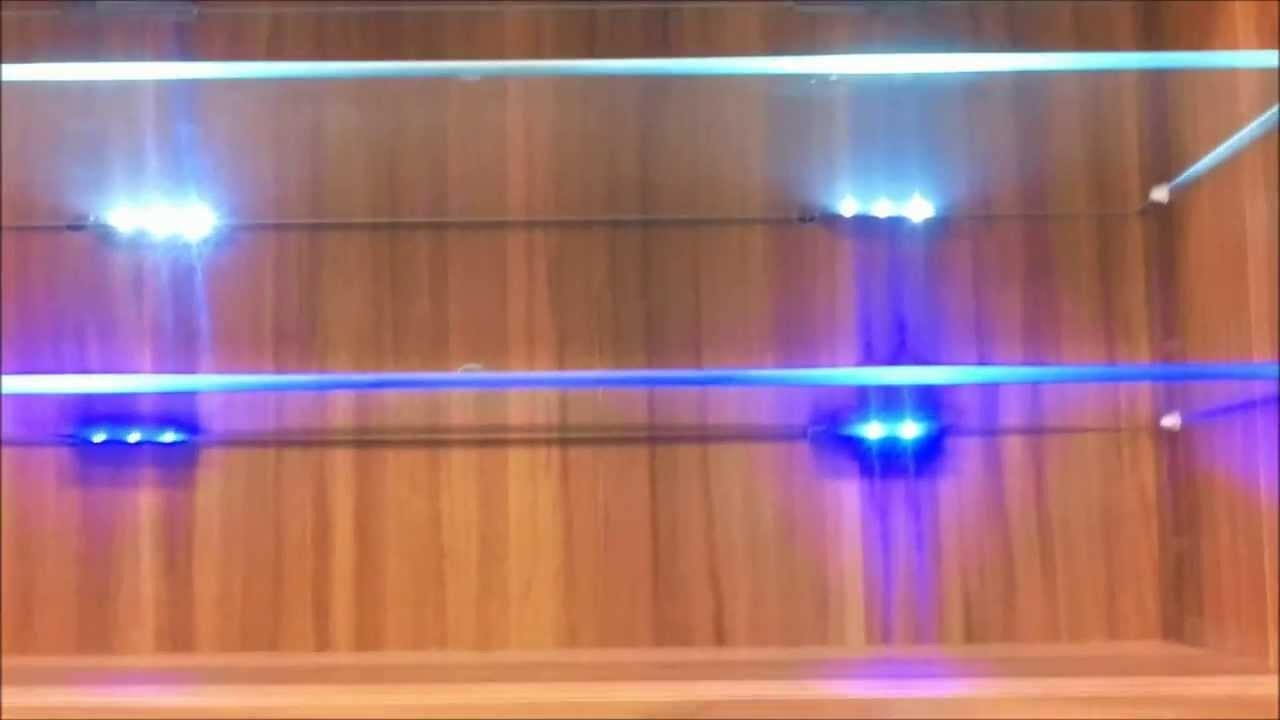 Blue Led Lights Edge Lit Glass Cabinet Shelf Backlighting How To Throughout Glass Shelves With Lights (Image 3 of 15)