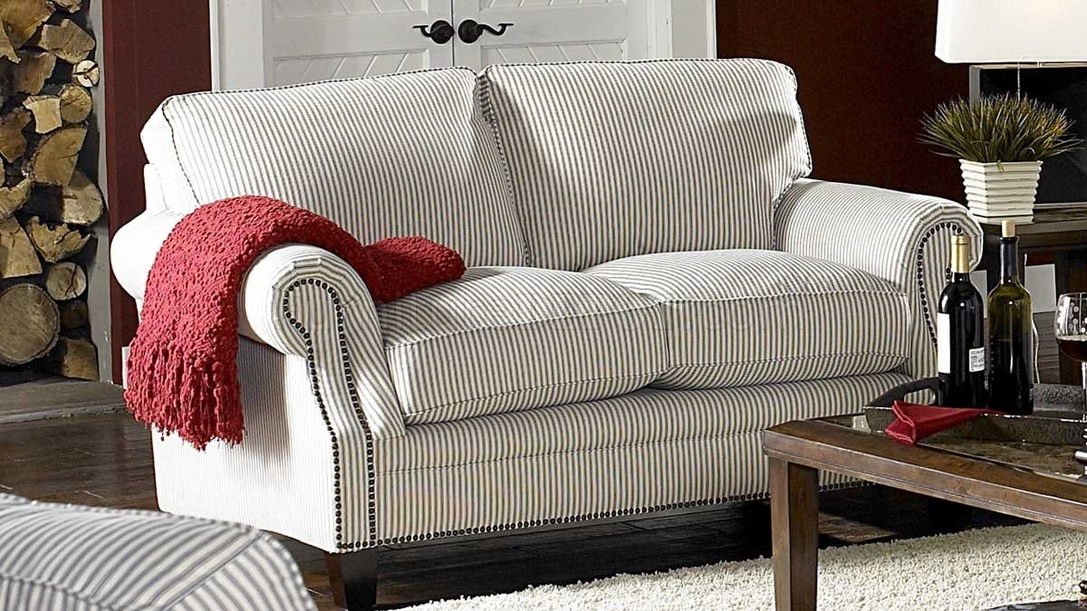 Blue Striped Fabric Cottage Style Sofa Loveseat Set Throughout Cottage Style Sofas And Chairs (Image 3 of 15)