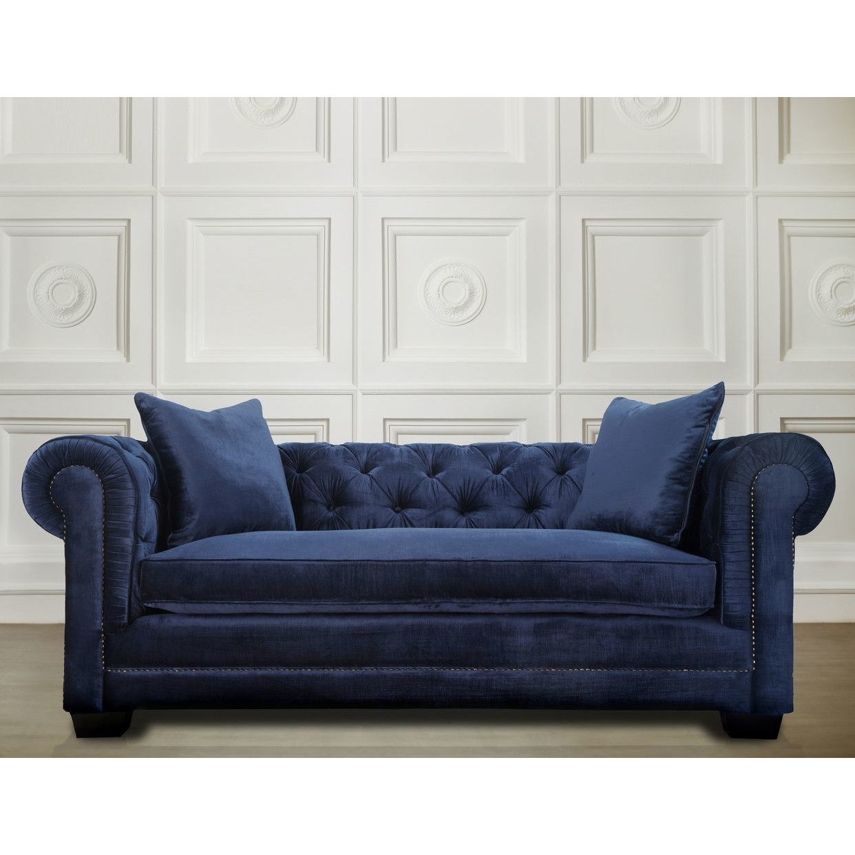 Blue Tufted Ottoman It Is Gorgeous Midnight Blue Velvet Intended For Blue Sofa Chairs (Image 5 of 15)