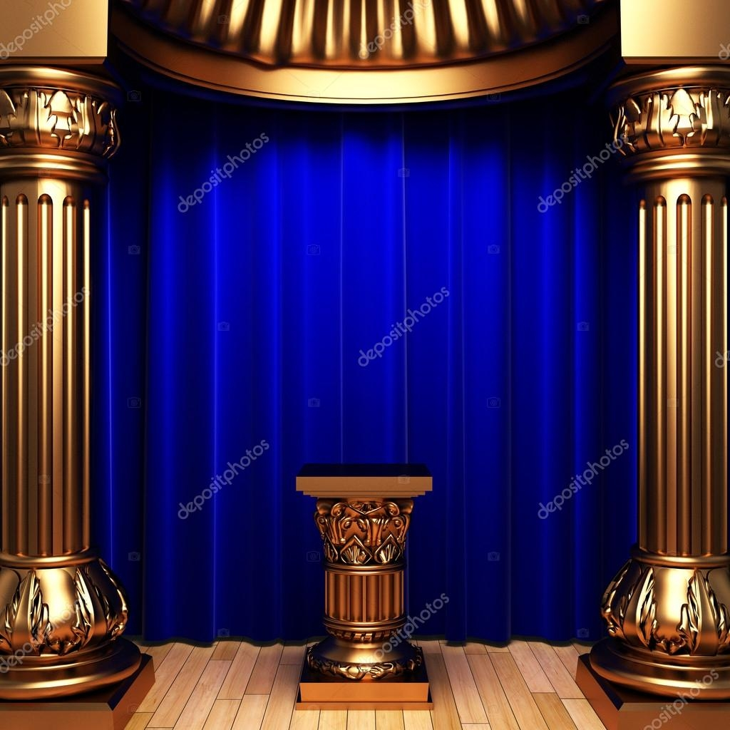 Blue Velvet Curtains Gold Pedestal Stock Photo Icetray 1733718 Throughout Purple And Gold Curtains (Image 4 of 25)