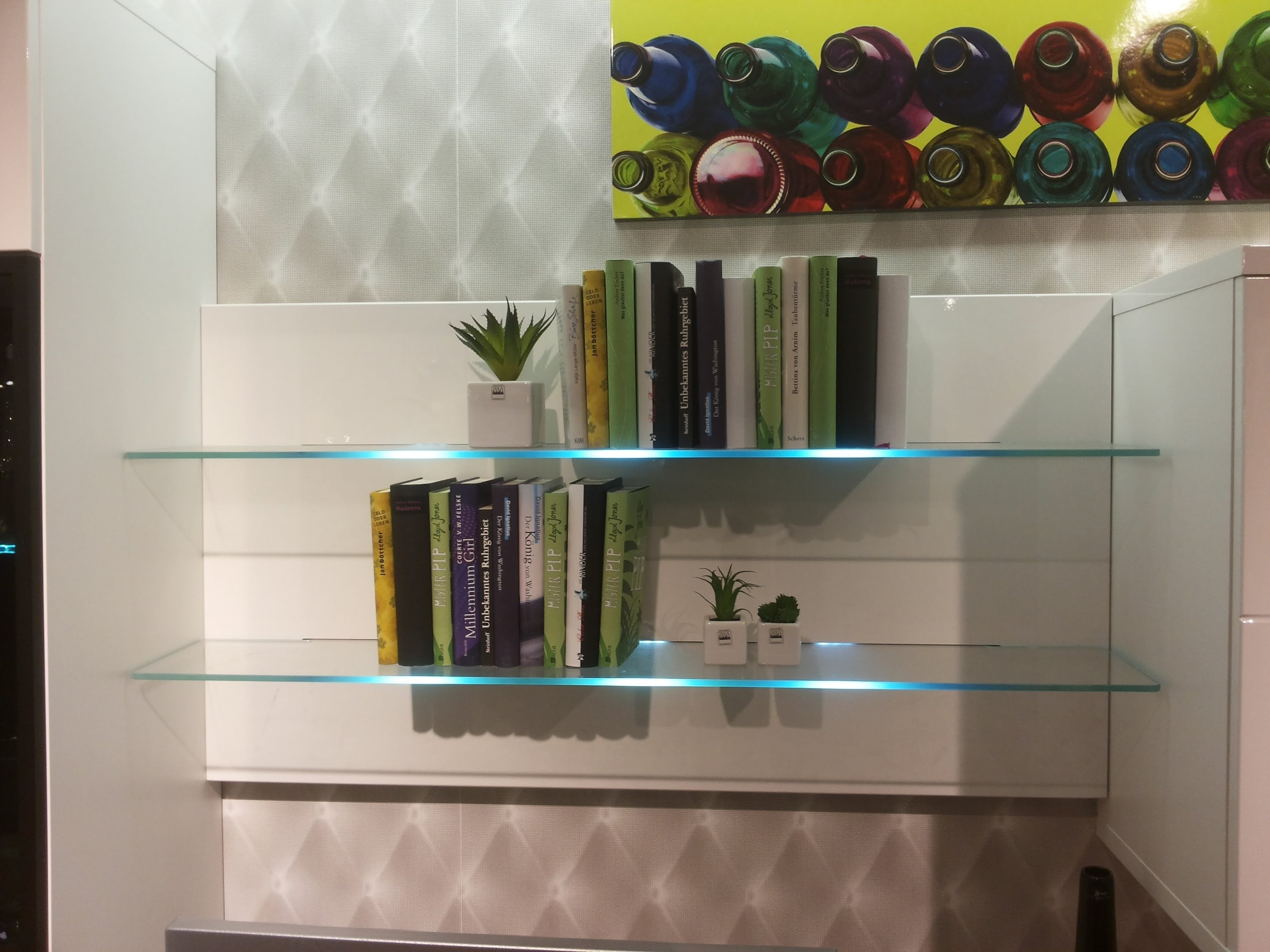 Bookcase With Led Glass Shelf Lights Led Wall Mounted Bar Shelf Within Glass Shelves With Lights (Image 4 of 15)