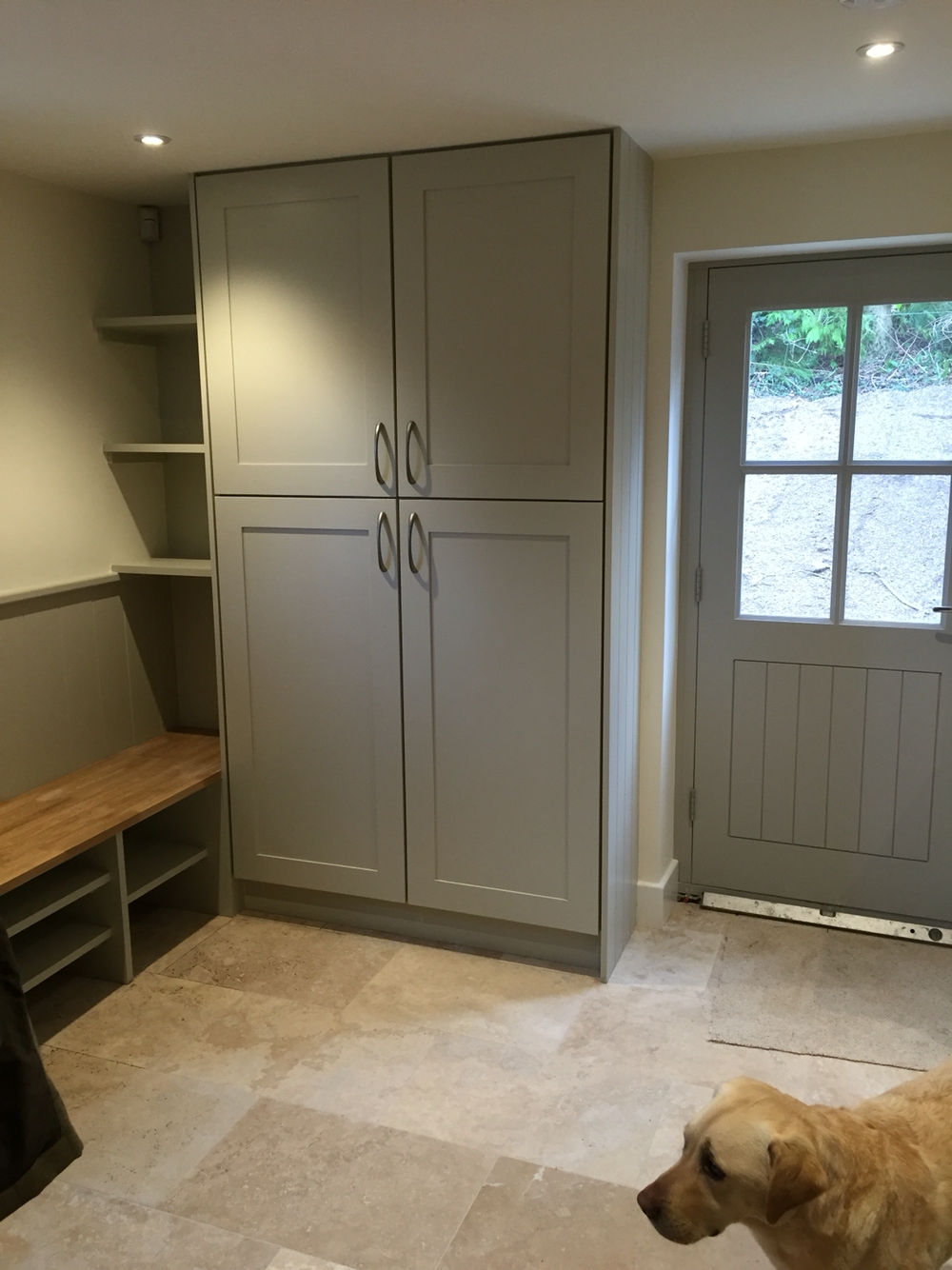 Boot Room Including Bench Seating Capped With Oak Bench Handmade Throughout Handmade Cupboards (Image 4 of 15)