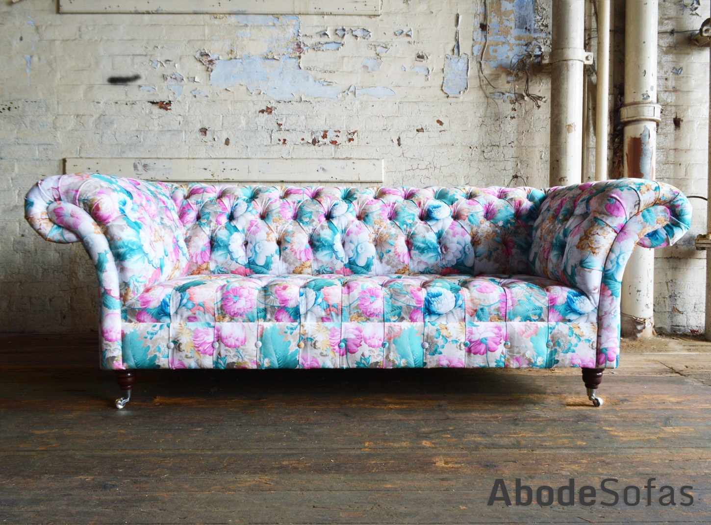 Botanical Floral Velvet Chesterfield Sofa Exclusive Printed Within Chintz Floral Sofas (Image 3 of 15)