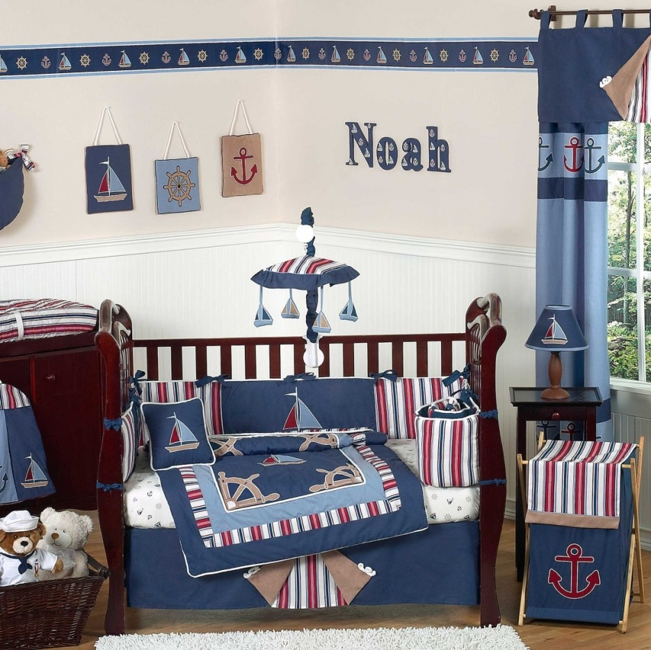Boys Bedroom Charming Blue Comforter Ba Bedding With Dark Brown In Blue Curtains For Boys Room (Image 9 of 25)
