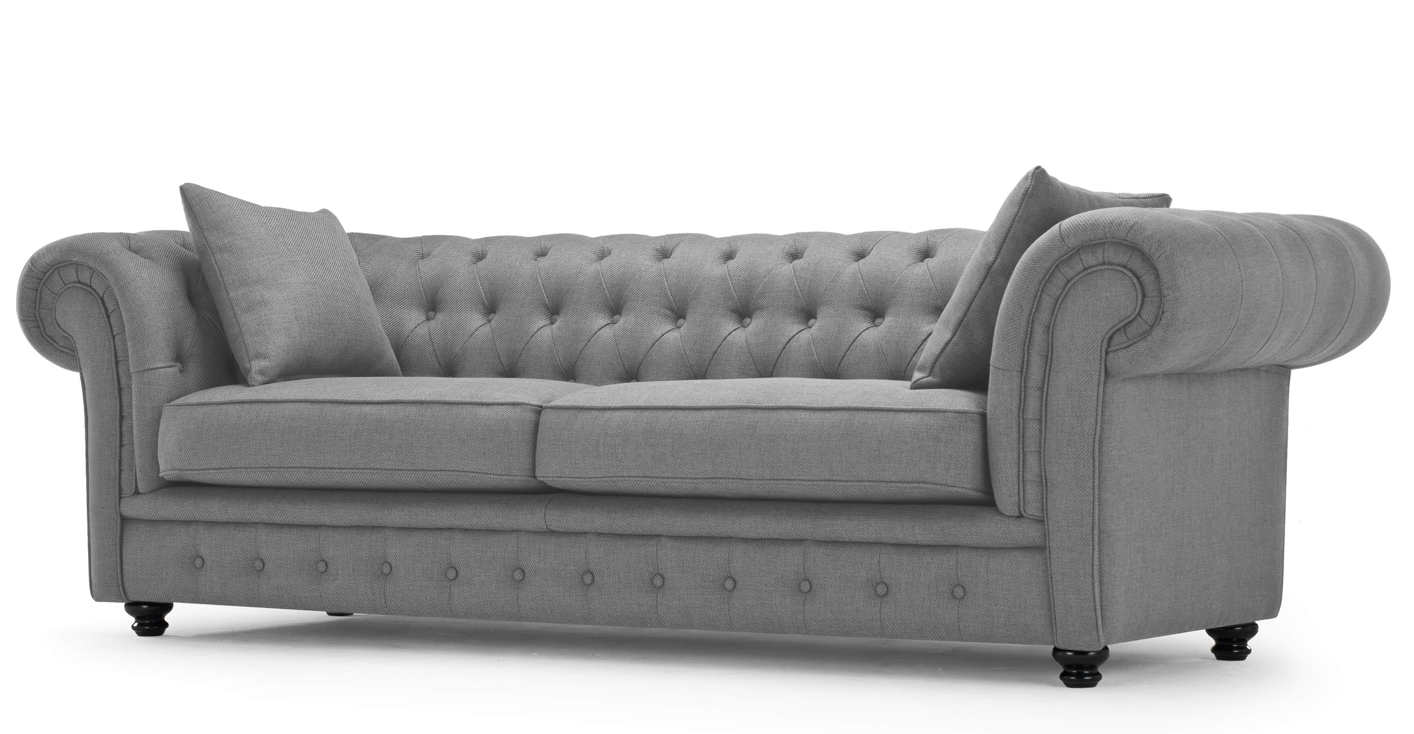 Branagh 3 Seater Grey Chesterfield Sofa Chesterfield Sofa Pearl With Regard To Chesterfield Sofa And Chair (Image 3 of 15)
