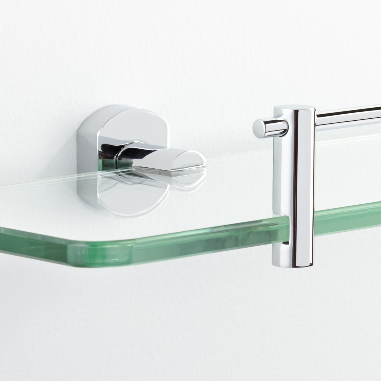 Brass Wall Mount Glass Shelf Signature Hardware Throughout Wall Mounted Glass Shelf (Image 3 of 15)