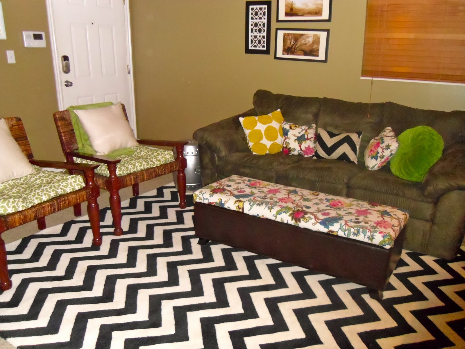 Bright Living Room Rugs Orange Velvet Sofas Chevron Rug Areas For Black And Grey Chevron Rugs (Image 2 of 15)