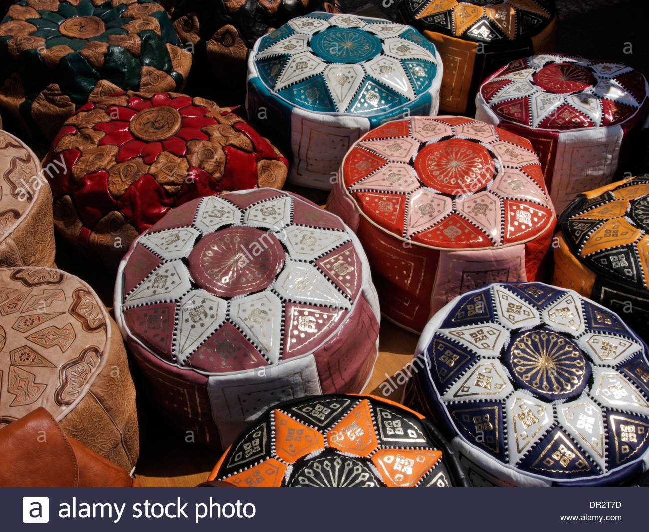 Brightly Coloured Leather Goods Like These Pouffes Or Footstools Regarding Pouffes And Footstools For Sale (Image 2 of 15)