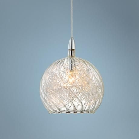 Brilliant Best Wire And Glass Pendant Lights With Possini Euro 4 12 Wide Swirl Wire Glass Mini Pendant Light (Image 4 of 25)