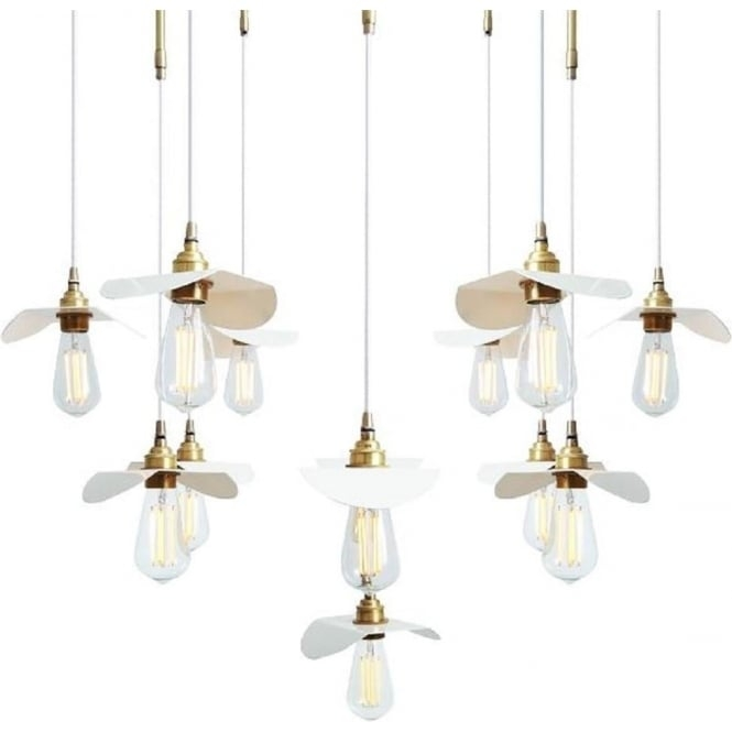 Brilliant Common Bare Bulb Cluster Pendants Intended For Moern Cluster Of Bare Bulb Ceiling Lights Hanging On Gold Framework (Image 4 of 25)