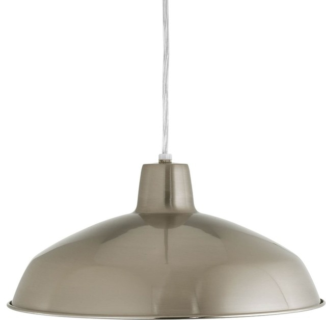 Brilliant Common Brushed Stainless Steel Pendant Lights Intended For Progress Lighting Metal Shade Pendant With Metal Shade Brushed (View 9 of 25)