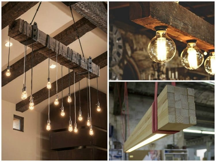 Brilliant Deluxe Reclaimed Light Fittings Throughout Reclaimed Wood Beams Best Diy Id Lights (Image 8 of 25)
