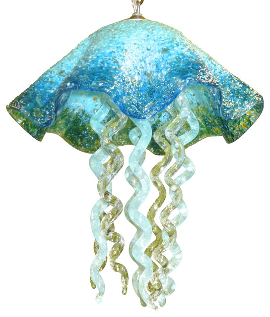 Brilliant Elite Jellyfish Inspired Pendant Lights Intended For Blown Glass Chandelier Art Glass Chandelier Lighting (Image 8 of 25)