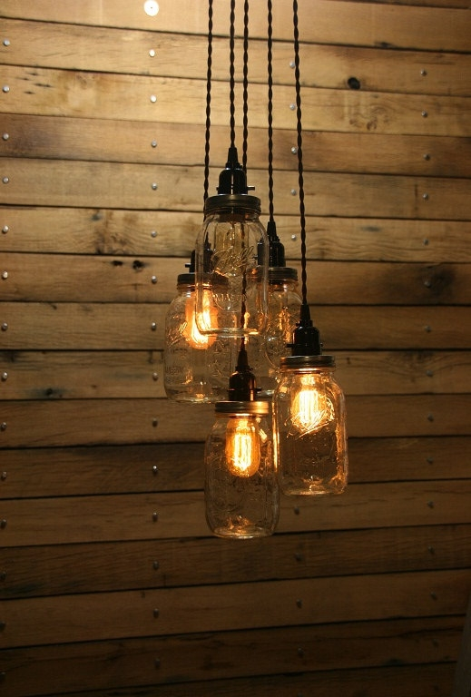 Brilliant Elite Mason Jar Pendant Lights Throughout 5 Jar Pendant Light Mason Jar Chandelier Light 3 Hang (Image 2 of 25)