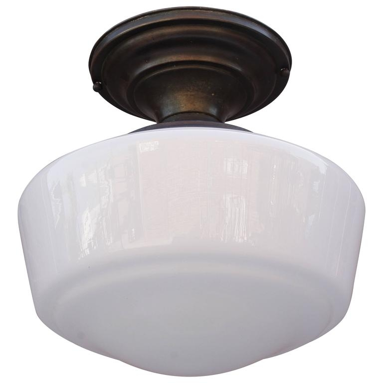 Brilliant Famous Milk Glass Light Fixtures Throughout 1930s Ceiling Light Fixture With Milk Glass Globe At 1stdibs (View 22 of 25)