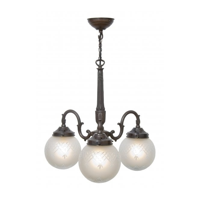 Brilliant High Quality Edwardian Pendant Lights With 3 Arm Victorian Or Edwardian Ceiling Pendant Light With Globe Shades (Image 7 of 25)