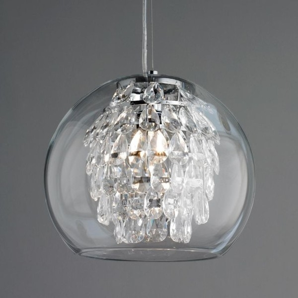 Brilliant Latest Rustic Clear Glass Pendant Lights Intended For Crystal Mini Pendant Lighting For Kitchen Using Swarovski Teardrop (Image 8 of 25)