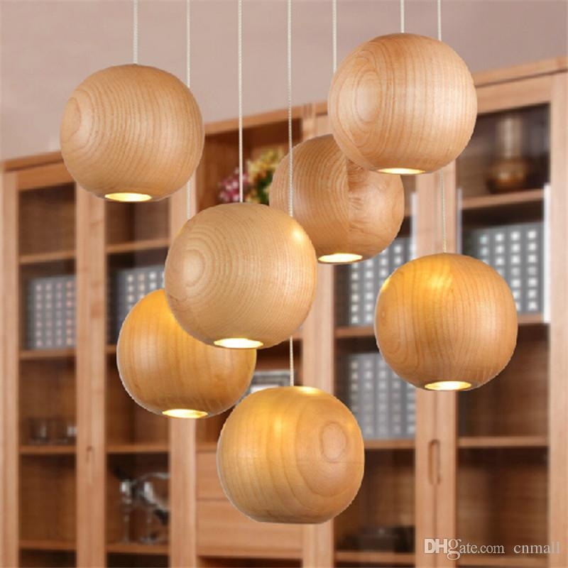 Brilliant Premium Disco Ball Pendant Lights Throughout Modern Led Wood Chandelier Creative Wooden Small Ball Pendant (Image 7 of 25)