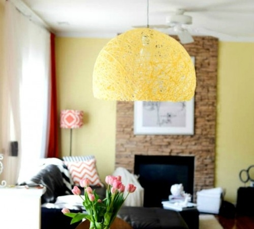 Brilliant Premium Diy Yarn Pendant Lights Regarding Diy Pendant Light Of Colorful Yarn Shelterness (Image 2 of 25)