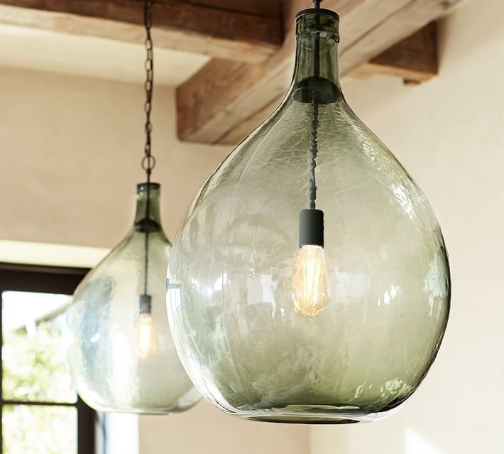 Brilliant Premium Glass Jug Light Fixtures Within Clift Oversized Glass Pendant Pottery Barn (Image 4 of 25)