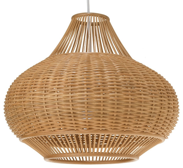 Brilliant Premium Rattan Pendant Light Fixtures Throughout Wicker Pear Pendant Lamp Natural Tropical Pendant Lighting (Image 9 of 25)