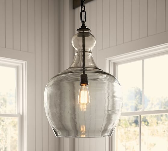 Brilliant Premium Recycled Glass Pendant Lights Pertaining To Flynn Recycled Glass Pendant Pottery Barn (Image 3 of 25)