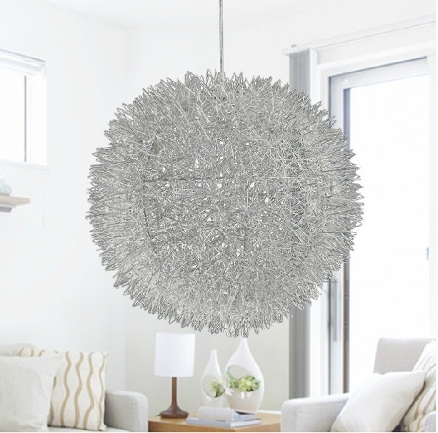 Brilliant Premium Wire Ball Light Pendants Pertaining To Popular Silver Ball Lamps Buy Cheap Silver Ball Lamps Lots From (Image 6 of 25)