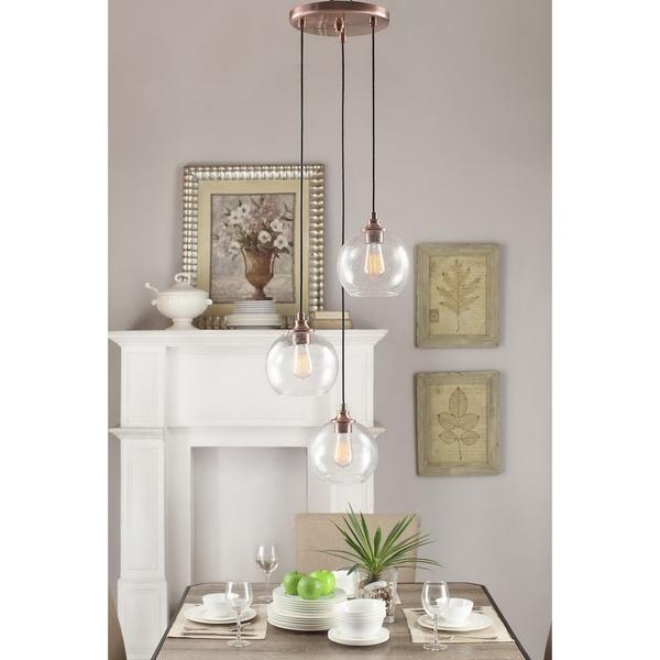 Brilliant Series Of 3 Light Pendants Inside Uptown 3 Light Clear Globe Cluster Copper Pendant Globe Lights (Image 11 of 25)