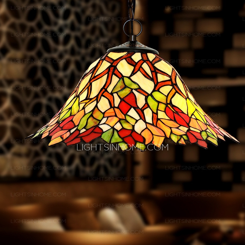 Brilliant Trendy Stained Glass Pendant Light Patterns Inside Leaf Pattern Stained Glass Pendant Lights For Kitchen (Image 5 of 25)