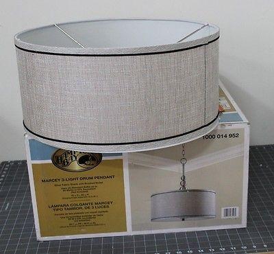 Brilliant Unique Hampton Bay Pendants With Hampton Bay Marcey 3 Light Drum Pendant Silver Fabric Shade  (Image 6 of 25)