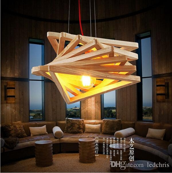 Brilliant Unique Restaurant Pendant Lights Regarding Novelty Modern Handmade Wood Pendant Lights For Bar Restaurant (Image 4 of 25)