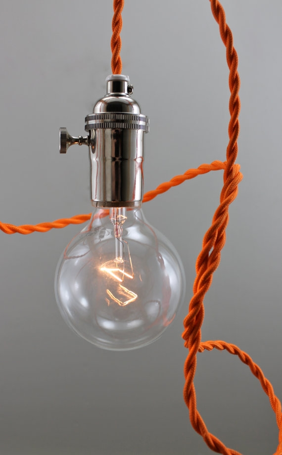 Brilliant Variety Of Bare Bulb Hanging Light Fixtures Pertaining To Mod Orange Bare Bulb Pendant Lighting Hanging Light Fixture (Image 6 of 25)