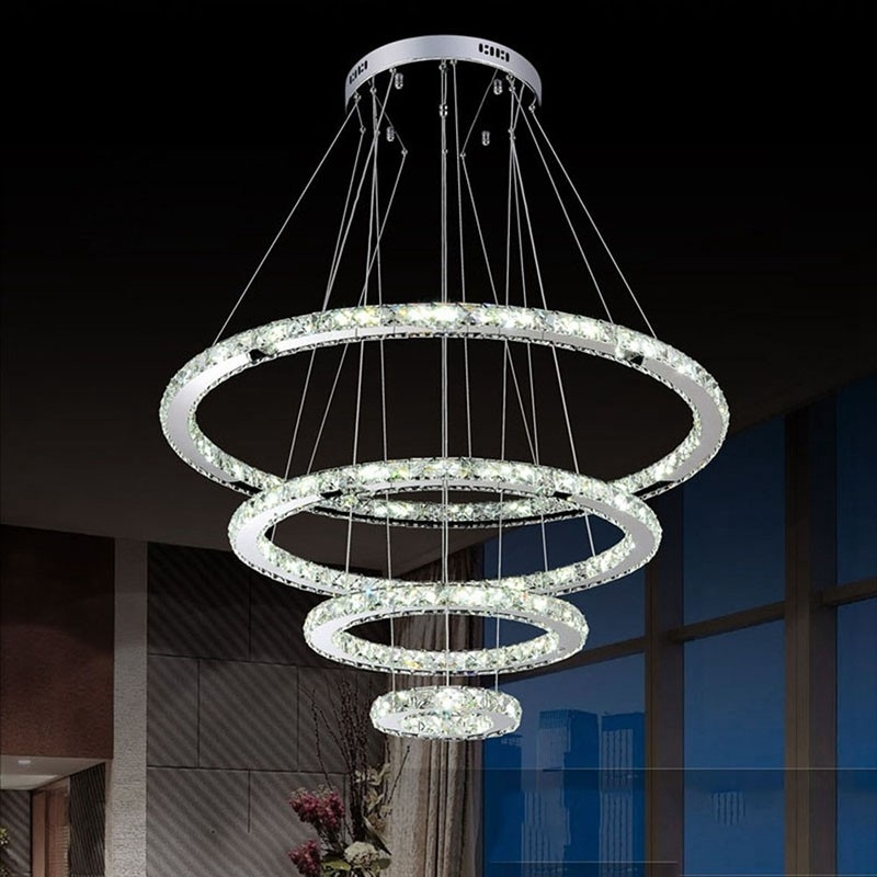 Brilliant Variety Of Remote Control Pendant Lights Intended For Dimmable Led Crystal Chandeliers Lights Remote Control Pendant (View 25 of 25)