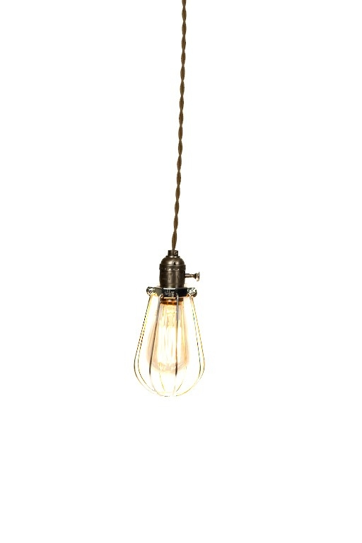 Brilliant Well Known Bare Bulb Pendants Intended For Vintage Industrial Caged Silver Minimalist Bare Bulb Pendant (Image 4 of 25)
