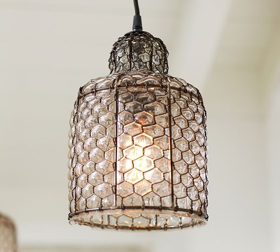 Brilliant Wellknown Chicken Wire Pendant Lights With Regard To Harlowe Wire Glass Indooroutdoor Pendant Pottery Barn (Image 8 of 25)