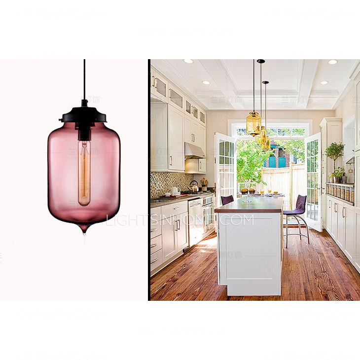Brilliant Well Known Coloured Glass Pendant Lights With Regard To Turret Shaped E26e27 Colored Glass Pendant Lights (Image 7 of 25)