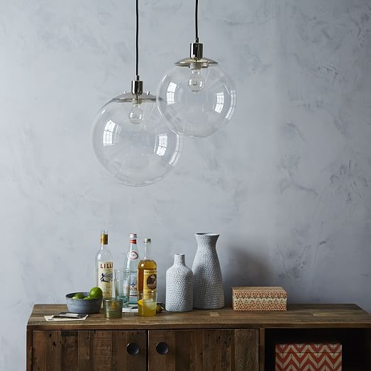 Brilliant Well Known Globes For Pendant Lights Pertaining To Globe Pendant Clear West Elm (Image 7 of 25)
