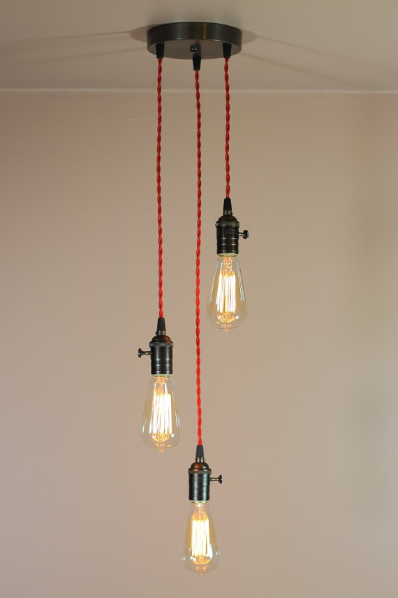 Brilliant Wellknown Three Light Bare Bulb Pendants Within 3 Light Chandelier W Bare Bulb Pendant Lights Red Twisted (Image 5 of 25)