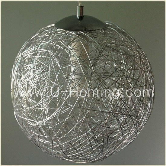 Brilliant Wellknown Wire Ball Light Pendants With Regard To Modern Round Aluminum Wire Ball Pendant Lighting Hotel Decorative (Image 8 of 25)