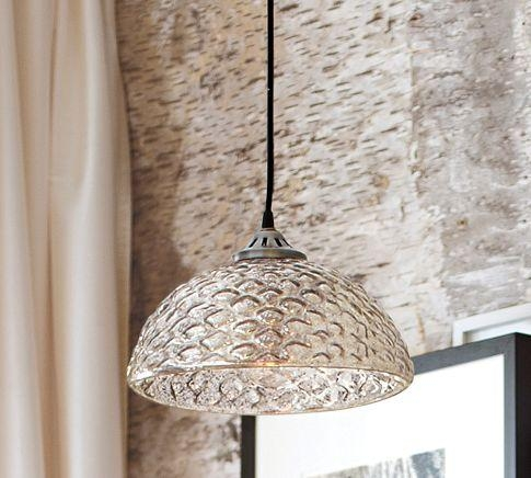 Brilliant Wellliked Mercury Glass Pendant Lights In Serena Antique Mercury Glass Pendant Pottery Barn (Image 6 of 25)