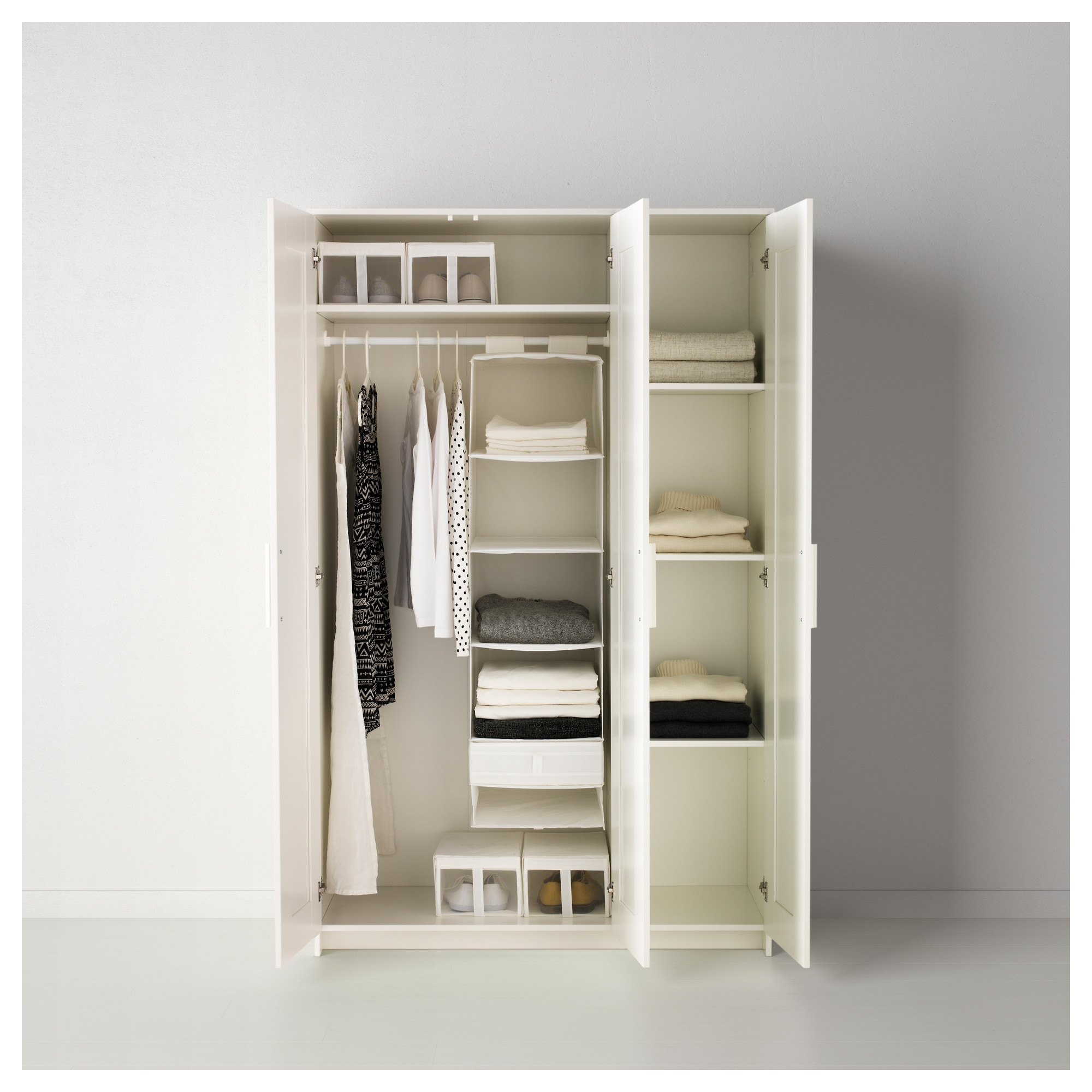 Brimnes Wardrobe With 3 Doors White Ikea Inside Wardrobes With Shelves And Drawers (Image 5 of 15)