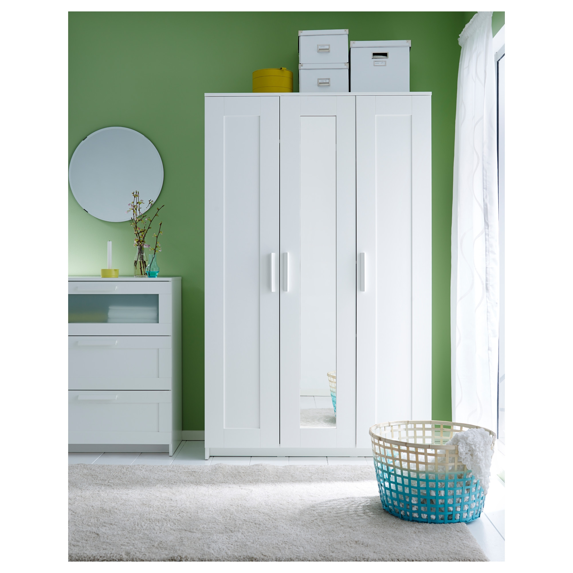 Brimnes Wardrobe With 3 Doors White Ikea Intended For 3 Door White Wardrobes (Image 4 of 25)