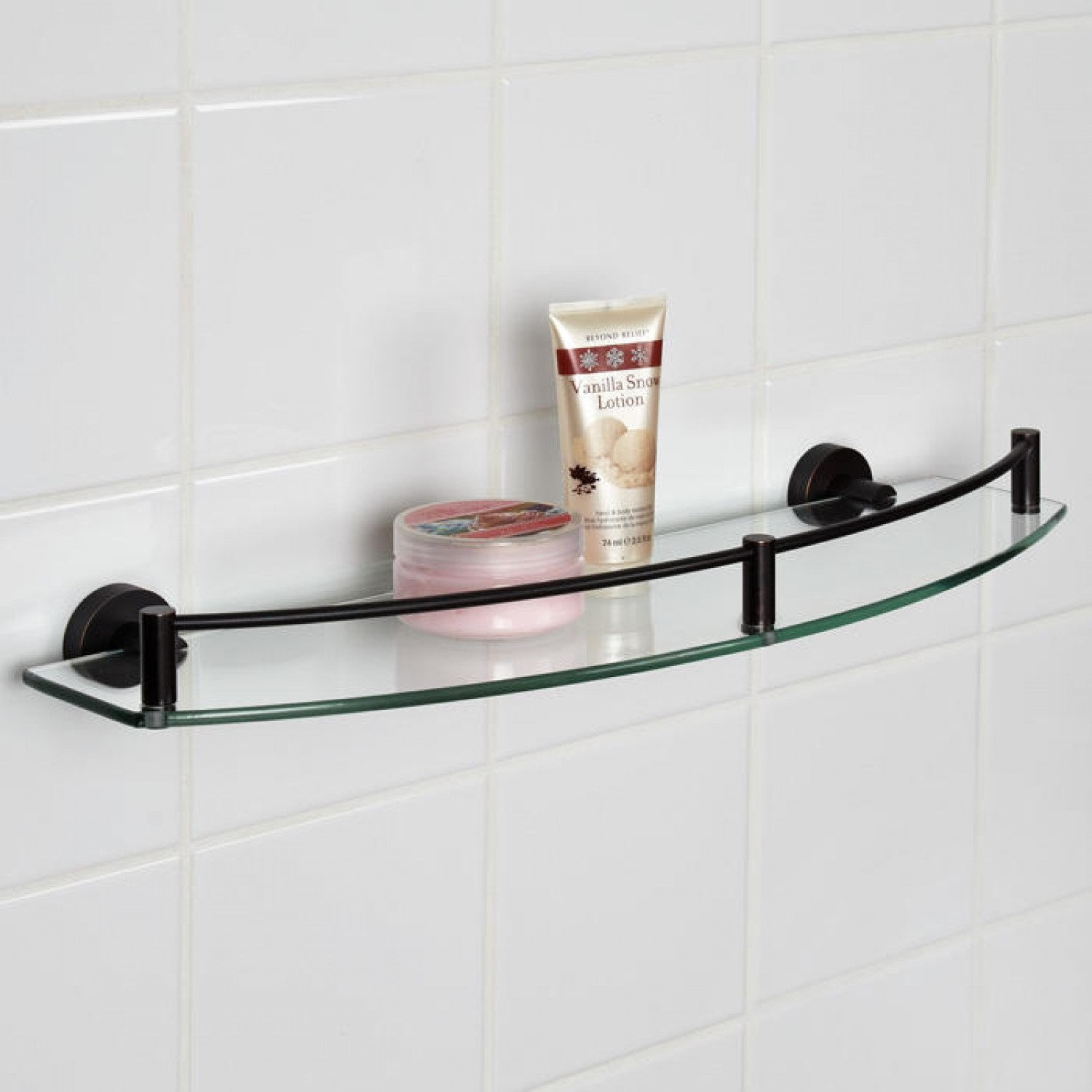 Bristow Curved Tempered Glass Shelf Bathroom Throughout Glass Shelves (Image 1 of 15)