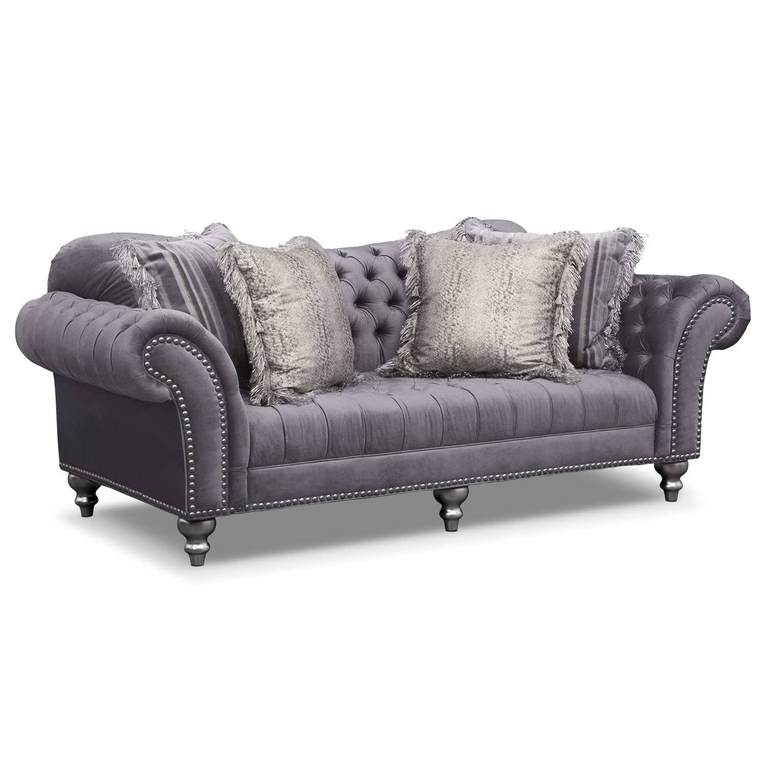 Brittney Sofa And Chair Set Gray American Signature Furniture For Sofa And Chair Set (Image 3 of 15)
