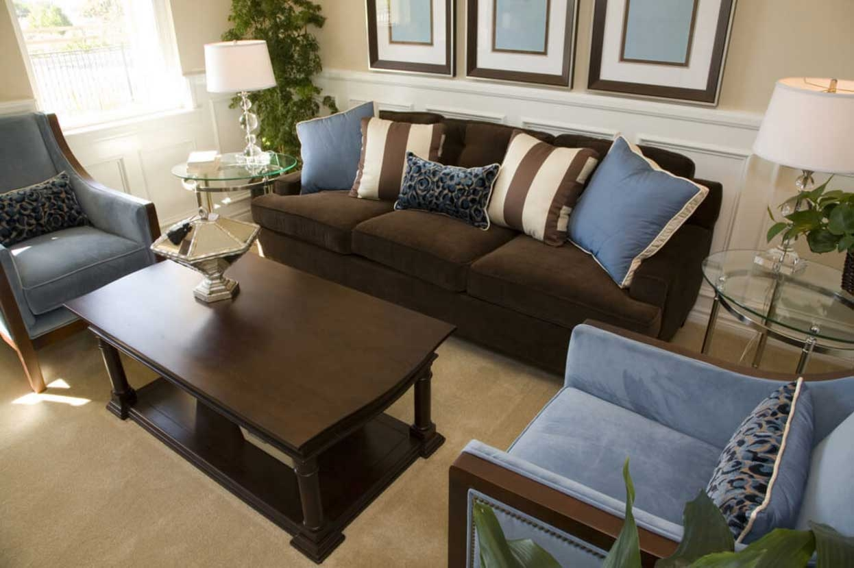 Brown And Blue Living Room Decor With Dark Brown Sofa Home In Brown Sofa Chairs (Image 7 of 15)